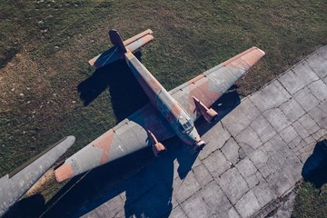 Above drone view on old WWII military propeller transport aircraft
