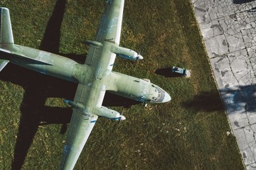 Above drone view on military propeller transport aircraft