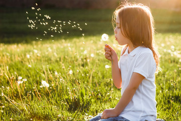 Little girl blowing dandelion.