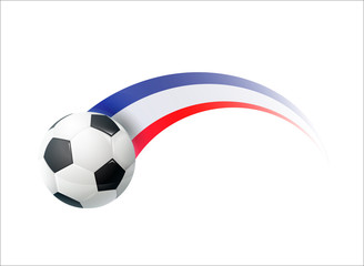 Football with French national flag colorful trail. Vector illustration design for soccer football championships, tournaments, games. Element for invitations, flyers, posters, cards,  banners.