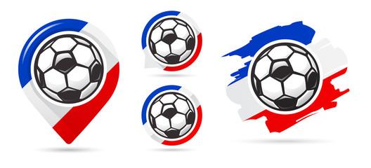 French football vector icons. Soccer goal. Set of football icons. Football map pointer. Football ball. Soccer ball.