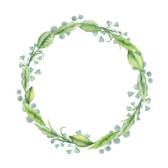 Watercolor hand painted wreath with green leaves and branches. Frame for wedding invitations, save the date or greeting cards..