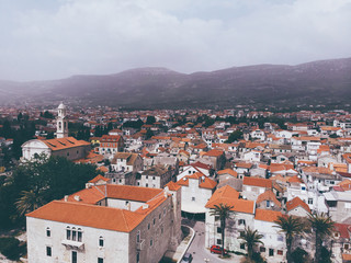 Drone shot of the Kastel old town on the coast of Dalmatia,Croatia . A famous tourist destination on the Adriatic sea.