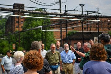 A tour guide explains the history of the Buffalo Trace Distillery in Frankfort