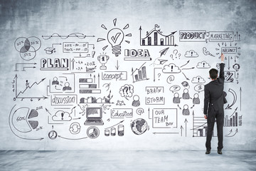 Marketing, startup and finance concept