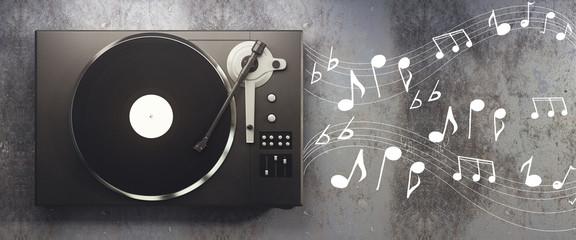 Vinyl player on concrete background
