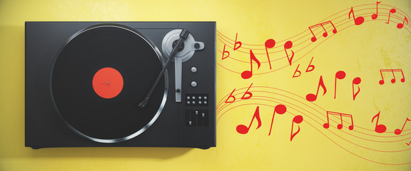 Vinyl player on yellow background