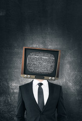 TV headed businessman
