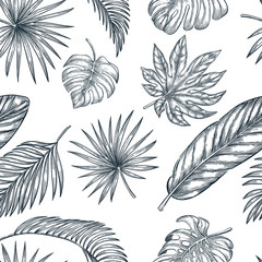 Tropical palm leaves seamless vector pattern. Sketch hand drawn illustration of jungle exotic plants.