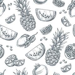 Tropical fruits seamless vector pattern. Sketch hand drawn illustration of pineapple, lemon, watermelon, pomegranate.