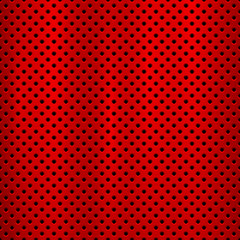 Wall Mural - Red metal technology background with with seamless circle perforated pattern and circular polished, brushed texture, chrome, steel for design concepts, web, prints, wallpapers. Vector illustration