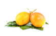 two ripe exotic fruits of a yellow granadilla, refreshing snack dessert with green leaves on a white background