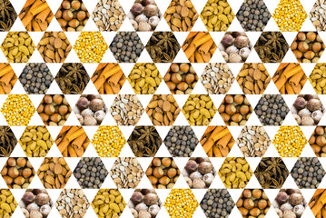 pattern of nuts coconut cashew hazel nut spices and corn grains yellow honeycomb icon on white background