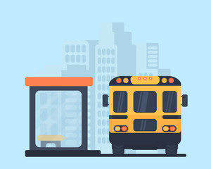 School bus and bus stop. Back view vector illustration. City background.