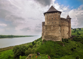 Khotyn Fortress on the Dnister river on a cloudy day, Western Ukraine Wall mural