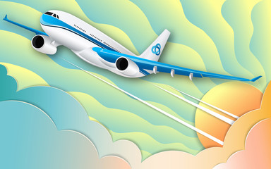 The flight of a white passenger liner. The turquoise sky, the bright sun and colorful cumulus clouds. The effect of cut paper. 3d illustration. Fashionable color gradients.  Travel, tourism