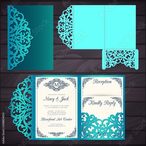 laser cut wedding trifold envelope template vector wedding