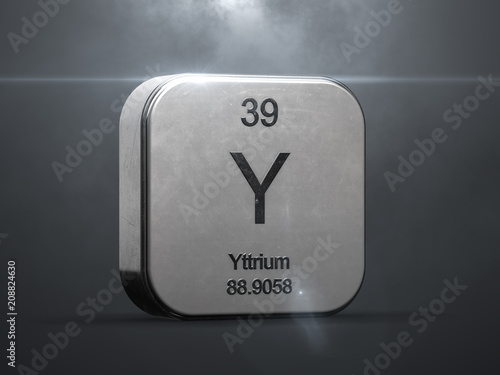 Yttrium Element From The Periodic Table Metallic Icon 3d Rendered