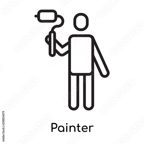painter icon vector sign and symbol isolated on white background