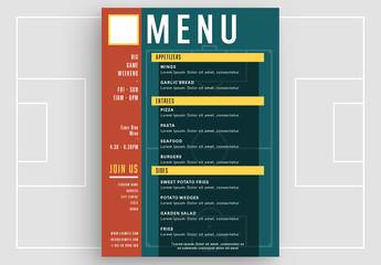 Football/Soccer-Themed Menu Layout