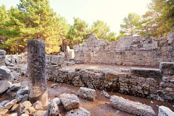 Photo sur Aluminium Ruine Travel and architecture. Ancient ruins in antique town Phaselis, Turkey.