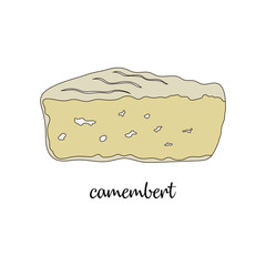 camembert on white background