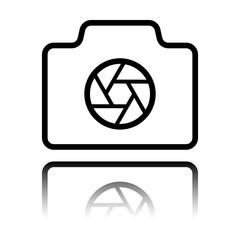 Photo camera with shutter, linear symbol with thin outline, simple icon. Black icon with mirror reflection on white background
