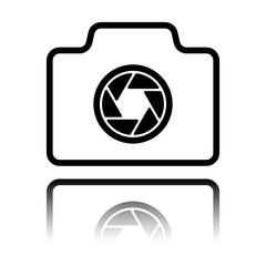 Photo camera, linear symbol with thin outline, simple icon. Black icon with mirror reflection on white background