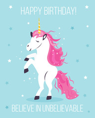 Inspiration bright card with cute unicorn
