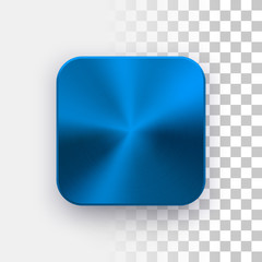 Fototapete - Blue metal blank app icon, technology button template with circular brushed texture, chrome, steel, copper and realistic shadow for design concepts, web sites, interfaces, applications, apps. Vector.