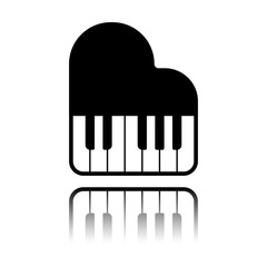 Grand piano icon. Black icon with mirror reflection on white background