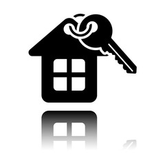 House with key. Black icon with mirror reflection on white background