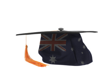 Flag of Australia on Graduation Cap.Australian education