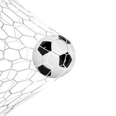 Soccer or Football 3d Ball isolated on white background. Football game match goal moment with realistic ball in the net and place for text