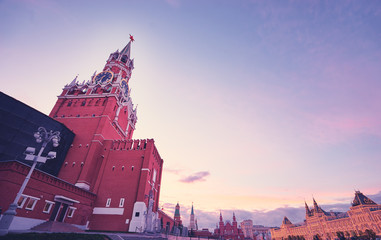 Tourism and architecture. Kremlin and Red Square in Moscow, Russia