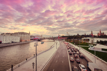 Beautiful city landscape. Sunset on Moscow River .