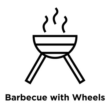 Barbecue with Wheels icon vector sign and symbol isolated on white background, Barbecue with Wheels logo concept, outline symbol, linear sign