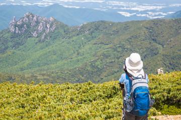 新緑の山と登山者