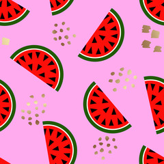 Seamless watermelon geometric pattern, vector illustration