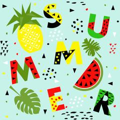 Trendy seamless, Memphis style watermelon and pineapple geometric pattern, vector illustration