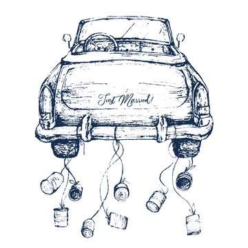 Watercolor hand painted wedding romantic illustration on white background - vintage navy color cabriolet car with cans. Just Married! Perfect for logo, greeting cards, invites, decoration, posters.