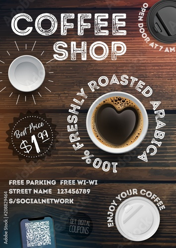 Coffee Shop Flyer Template On Vintage Wood Texture Background
