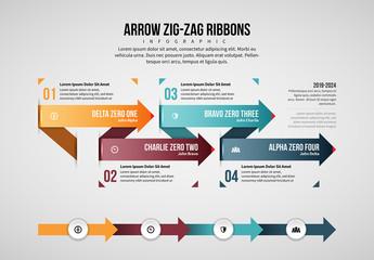 Zig-Zag Arrow Ribbons Infographic