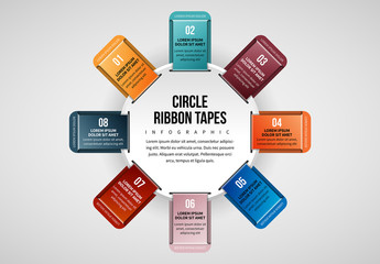 8 Ribbon Tabs in Circle Infographic