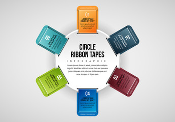 6 Ribbon Tabs in Circle Infographic