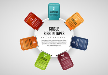7 Ribbon Tabs in Circle Infographic