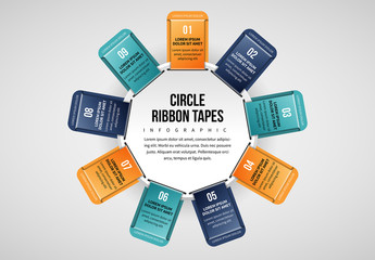 9 Ribbon Tabs in Circle Infographic
