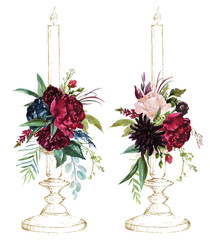Watercolor hand painted wedding romantic illustration on white background - pair of vintage gold candlesticks & flower floral bouquet composition. Pink peonies, blush anemones, maroon roses, leaves.
