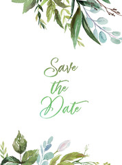 Watercolor floral illustration - green leaves frame / border, for wedding stationary, greetings, wallpapers, fashion, background. Eucalyptus, olive, green leaves, etc.