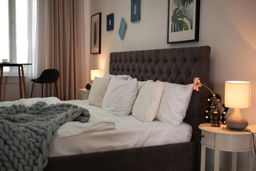Bed in elegance hotel room
